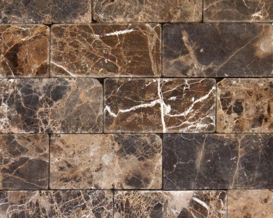 """Marbleville - Emperador Dark 3"""" x 6"""" Tumbled Marble Floor and Wall Tile - Premium Grade Emperador Dark 3"""" x 6"""" Tumbled is a splendid Tile to add to your decor. Its aesthetically pleasing look can add great value to any ambience. This Mosaic Tile is made from selected natural stone material. The tile is manufactured to high standard, each tile is hand selected to ensure quality. It is perfect for any interior projects such as kitchen backsplash, bathroom flooring, shower surround, dining room, entryway, corridor, balcony, spa, pool, etc."""