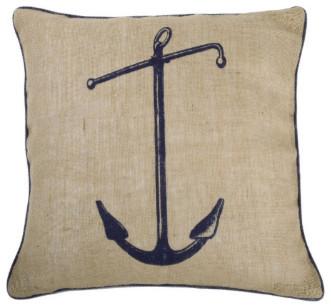 "Thomas Paul Seafarer Anchor Jute Pillow 18"" x 18"" traditional-decorative-pillows"