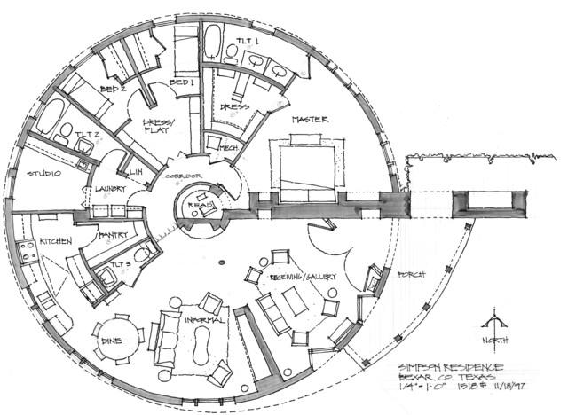 Round Bungalow Concept Floor Plan