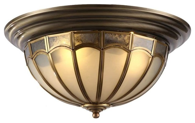 Westmenlights Vintage Small Ceiling Light Flush Mount: Antique Brass Dome Shaped Flush Mount Ceiling Lighting