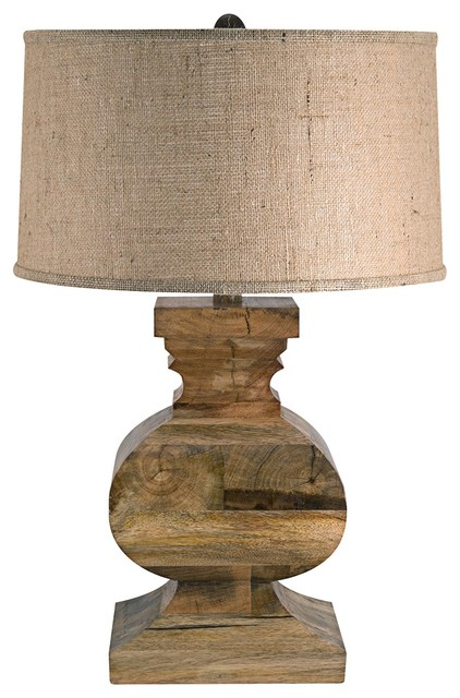 country cottage solid wood square block with burlap shade table lamp eclectic table lamps. Black Bedroom Furniture Sets. Home Design Ideas