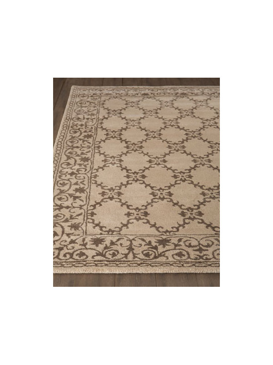 "Horchow - ""Divine Scroll' Rug - A scrolling vine motif border surrounding a scrolled lattice center brings quiet drama to this exquisite rug. Hand tufted of New Zealand wool and viscose. Cotton backing. Sizes are approximate. Imported. See our Rug Guide for tips on how to mea..."