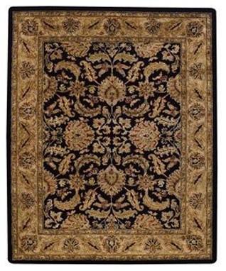 Capel Forest Park-Floral Scroll 9294 Area Rug - Black/Beige modern-rugs