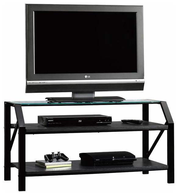 Sauder Beginnings Panel TV Stand  in Black Finish contemporary-media-storage