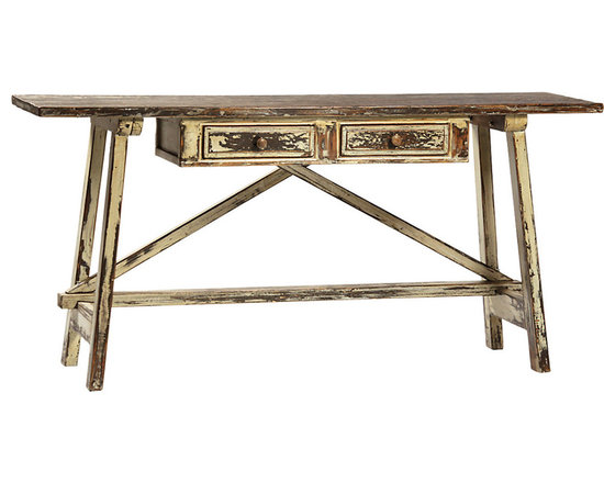 Sven Console Table - The Sven console table is a masterpiece of reclaimed wood and features a heavily distressed finish. With two drawers that allow for storage of your small items, this console table is contstructed with a hardwood base and reclaimed wood tabletop. Perfect for any entryway or living space.