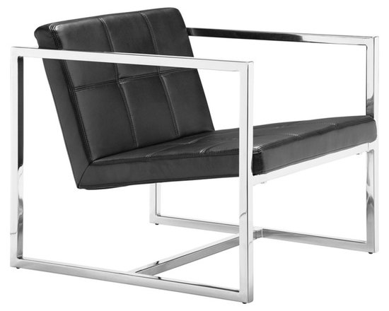 """Zuo - Zuo Carbon Black Leatherette Chrome Frame Chair - A shiny chrome finish frame and black leatherette cover create a stylish contrast in this eye-catching chair design. Great as an office chair or living room chair. Chrome finish steel frame. Black leatherette cover. 25 1/4"""" wide. 26 1/2"""" high. 28 1/4"""" deep.  Chrome finish steel frame.   Black leatherette cover.   25 1/4"""" wide.   26 1/2"""" high.   28 1/4"""" deep."""