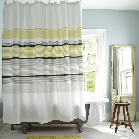 Gallery Stripe Shower Curtain, Citron modern shower curtains