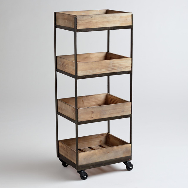 4 shelf Wooden Gavin Rolling Cart Contemporary kitchen