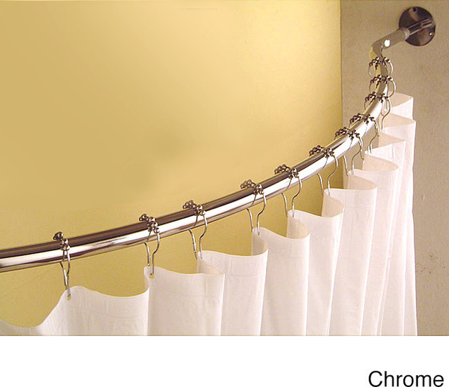 Curved 78 To 84 Inch Shower Curtain Rod Contemporary Shower Curtains By