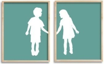 Children Holding Hands Custom Silhouette by Happy Thought contemporary artwork