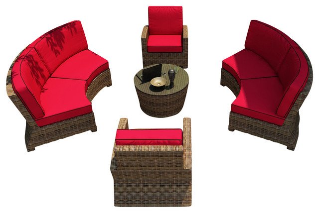 Cypress 5 Piece Outdoor Curved Sectional Set, Flagship Ruby Cushions contemporary-patio-furniture-and-outdoor-furniture