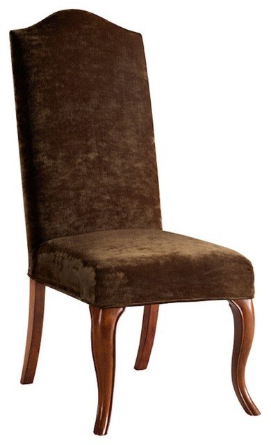 Transitional Truffle Slipcovered High Camel Back Armless Dining Chair traditional-dining-chairs