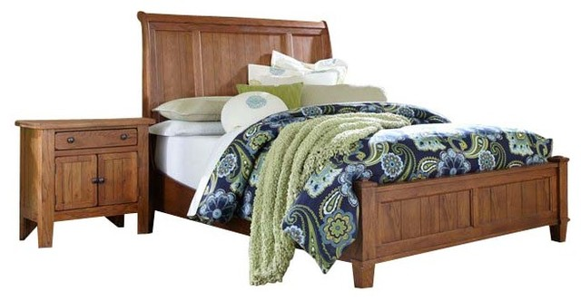 Broyhill Attic Heirlooms Vintage Sleigh Bed 4 Piece Bedroom Set transitional-beds