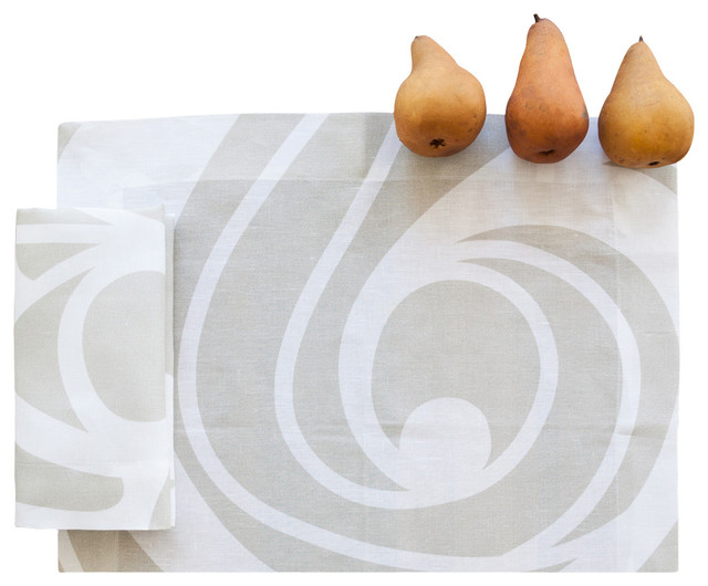 Champagne Swirl Linen Placemat (Set of Four) contemporary-placemats
