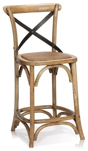 Oak Wood Counter Stool With Cross Iron Back Rustic Bar