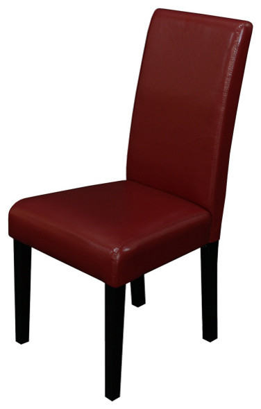 Villa Faux Leather Red Dining Chairs (Set of 2) contemporary-dining-chairs