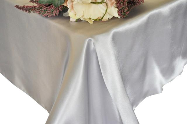 ... Rectangle Satin Table Overlay, Platinum   Modern   Tablecloths