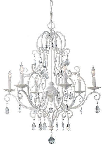 6 Bulb Semi Gloss White Chandelier contemporary-chandeliers