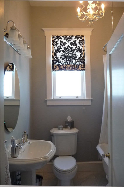 Black and white roman shade in the bathroom traditional for Blinds for bathrooms