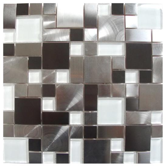 Sample Black Gray Pattern Aluminum Stainless Mosaic Tile: Modern Cobble Stainless Steel With White Glass Tile