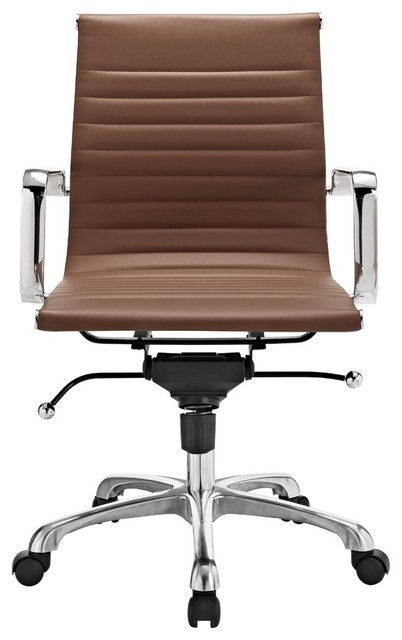 Modern Ribbed Mid Back Office Chair Terra Cotta