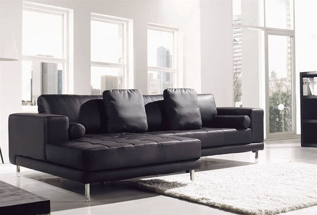 Contemporary all real leather sectional contemporary for Leather sectional sofa miami