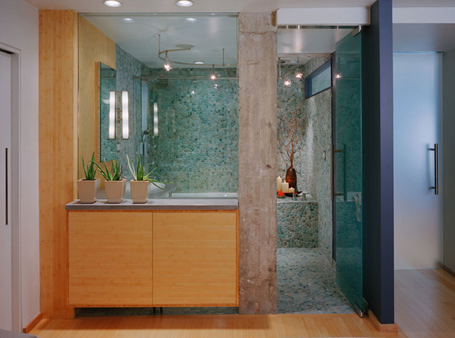 Pebbles Turquoise contemporary bathroom