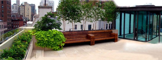 Upper East Side Nyc Townhouse Garden Roof Garden Terrace Stone Patio Bench Contemporary