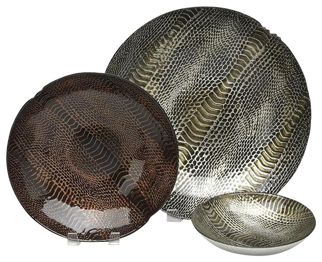 """Snakeskin 8"""" Bowl Silver/Brown Gold-Set of 4 contemporary-dinnerware"""