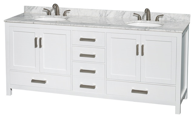 Sheffield Bathroom Vanity in White, White Carrera Top, UM Oval Sinks, No Mirror transitional-bathroom-vanities-and-sink-consoles