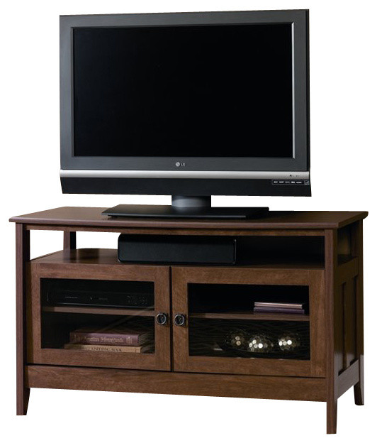 Sauder August Hill Panel TV Stand in Oiled Oak traditional-media-storage