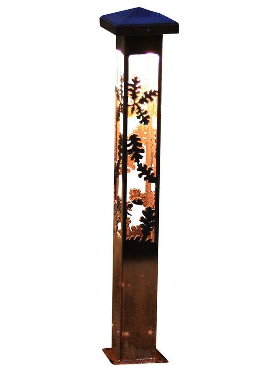 "Attraction Lights - Path Light-Decorative Steel- Oak Design, 37"" - -Solid, 1/8"" high grade steel construction"