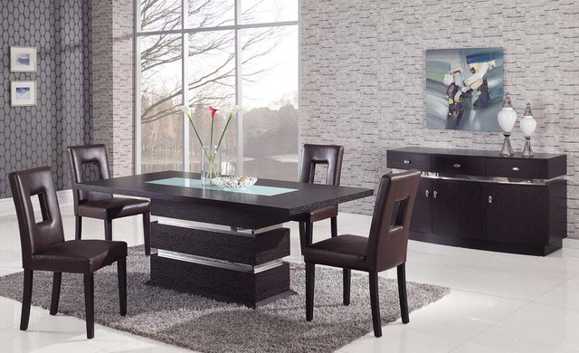 Sophisticated rectangular wood and frosted glass top leather modern dining set contemporary Frosted glass furniture