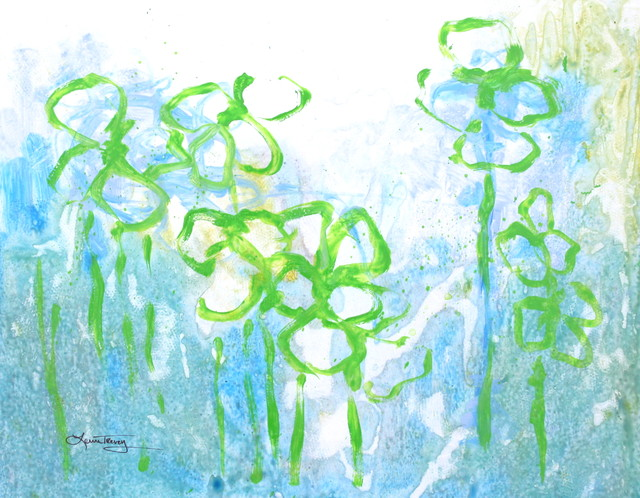 Spring Green Abstract Watercolor Painting contemporary-artwork