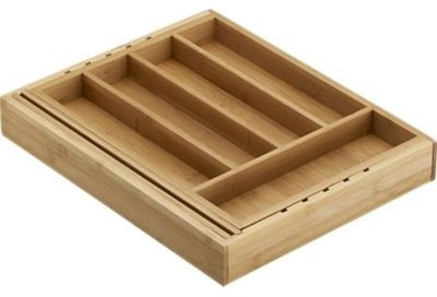 Expandable Bamboo Flatware Tray contemporary-kitchen-drawer-organizers