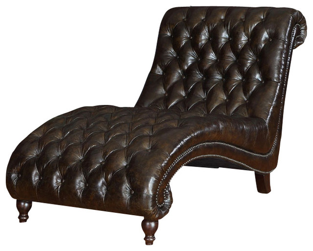 Princess tufted leather chaise traditional sofas by for Traditional tufted leather sofa