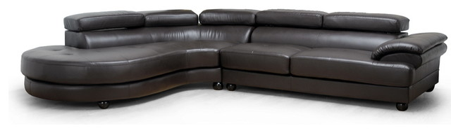 Baxton Studio Adelaide Brown Leather Modern Sectional Sofa (Left Facing Chaise) contemporary-sectional-sofas