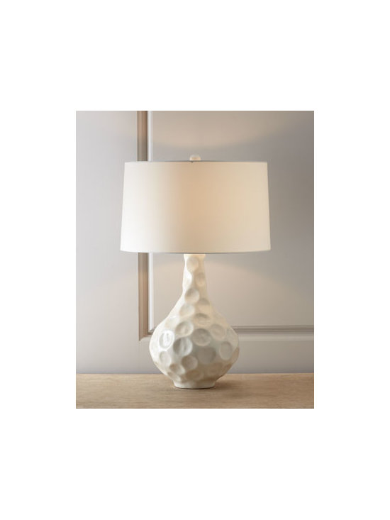 "Arteriors - Arteriors ""Vagabond"" Crackle Porcelain Table Lamp - Creamy-neutral table lamp with unusual texturing is a study of light and shadow captured and reflected in unexpected ways. Made of porcelain with a crackle finish. Polyester shade. Three-way switch; uses one 150-watt bulb. 17""Dia. x 26""T. Imported..."