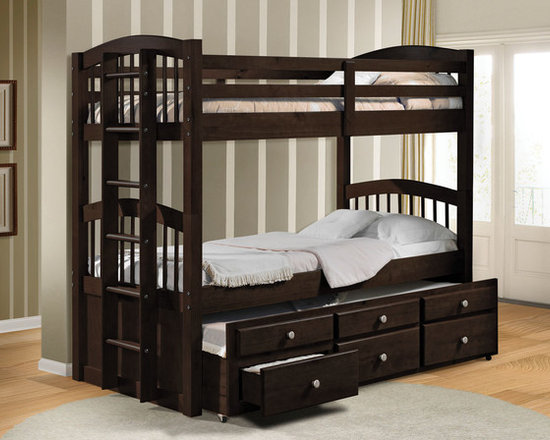 Micah Espresso Twin over Twin Bunk Bed with Trundle - This bed features guard rails for safety and the ladder allows for easy access to the top bunk. And its underbed and convenient trundle allows you to easily accommodate overnight guests with an extra sleeping space, while storage drawers provide room for clothing accessories.