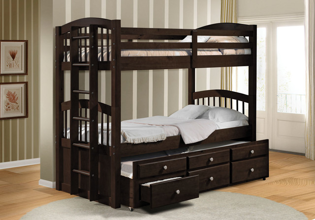 Micah Espresso Twin over Twin Bunk Bed with Trundle - Contemporary ...