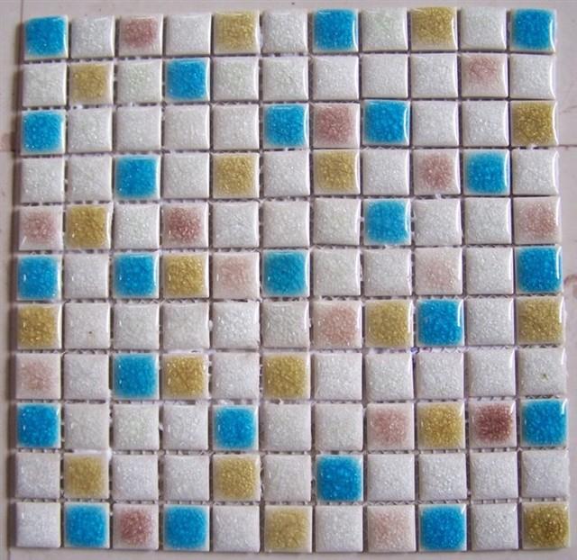 Crackled glazed mosaic eclectic-tile