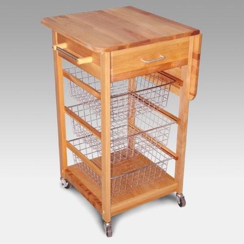 Chrome Wire Basket Kitchen Cart Traditional Kitchen