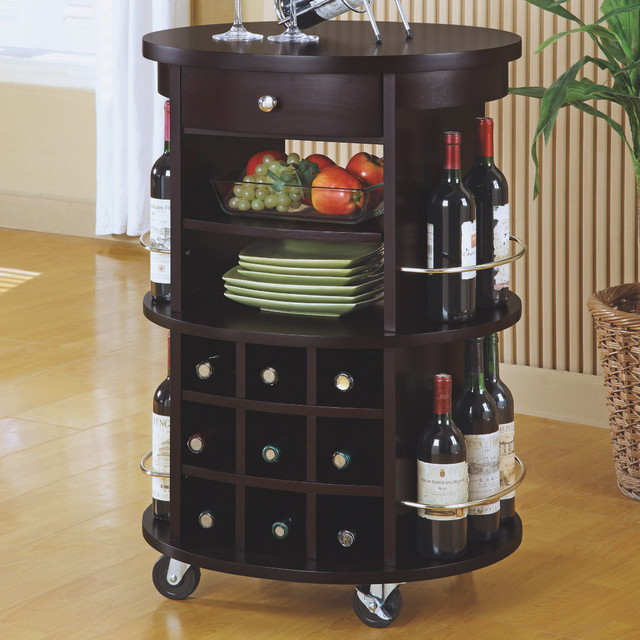 Industrial Kitchen Cart Bar Cart Serving By Maverickindustrial: Round Bar Serving Cart In Cappuccino With Wine Storage