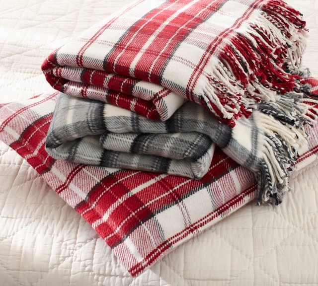 ... Blanket, Red - Traditional - Blankets - sacramento - by Pottery Barn
