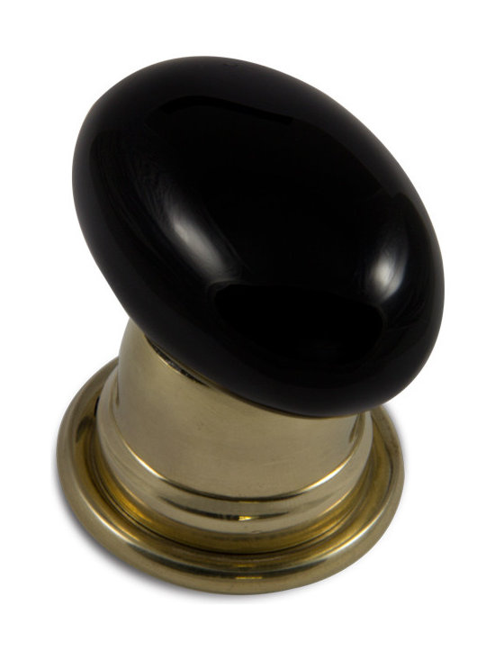 Oval Door Knob Collection - Obsidian Oval Door Knob shown with Bel Design Polished Brass Rose.