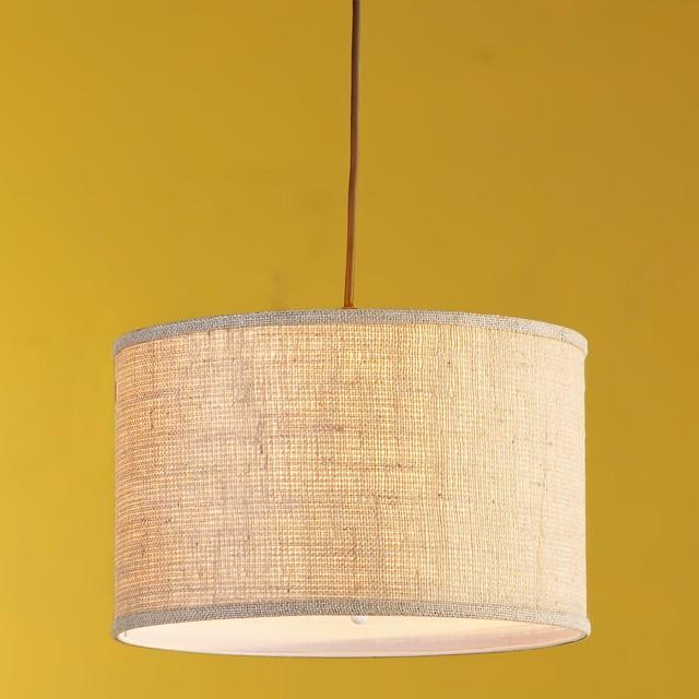 Burlap drum shade pendant light for Burlap lights