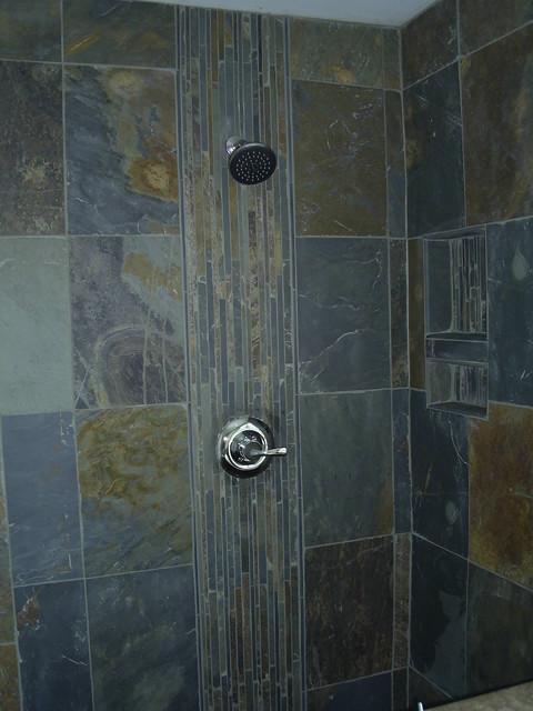 Slate shower detroit by maloney tile marble inc for Slate tile bathroom ideas