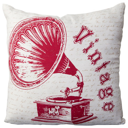 22-Inch Square Carmine, Feather Gray, and White Vintage Pattern Cotton Pillow Co traditional-bed-pillows-and-pillowcases