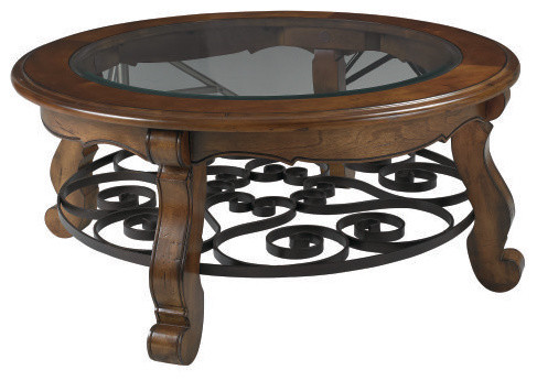 Hammary Siena Round Coffee Table With Glass Top Traditional Coffee Tables By Hayneedle