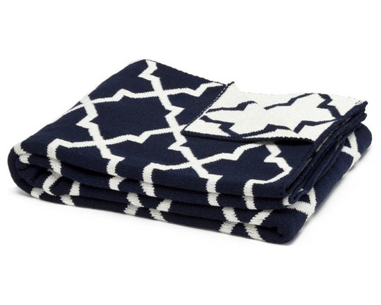 Eco Reversible Morocco Throw - Marine/Milk - This modern and supremely chic throw blanket in Marine Colour will make a big impact in any room. With its geometric design and super soft feel, use this blanket on a chaise, bed or chair to add style and a touch of glam to your interior.